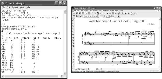 Before and after views of J.S. Bach example moving from MuseData to Finale via MusicXML 1.0