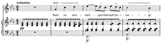 First four bars of Après un rêve by Fauré