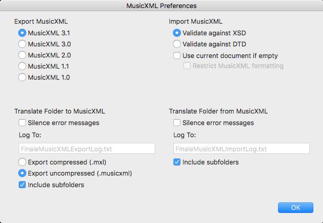 MusicXML Preferences dialog in Finale 25.5