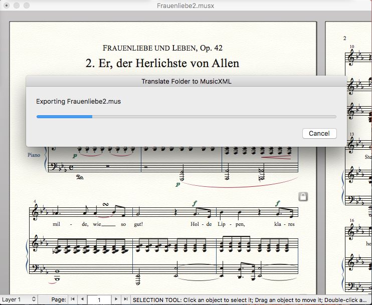 MusicXML work in progress dialog in Finale 25.5