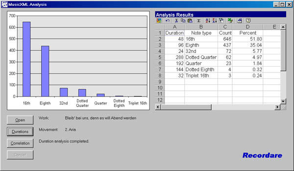 Screenshot of duration distribution program